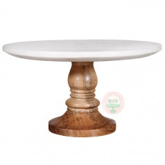 """10"""" Marble & Wood Cake Stand"""