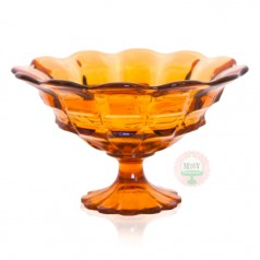 Vintage Amber Scalloped Compote
