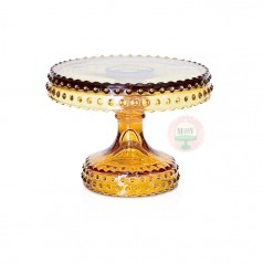 """6"""" Amber Hobnail Cake Stand"""
