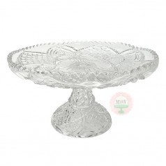 Antique Crystal Sawtooth Edge Cake Stand