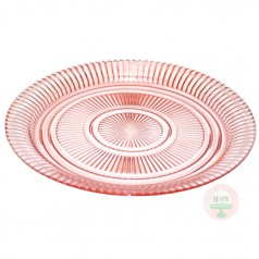 "12"" Depression Pink Cake Plate"