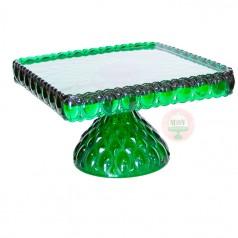 "10"" Elizabeth Square Cake Stand-Emerald"