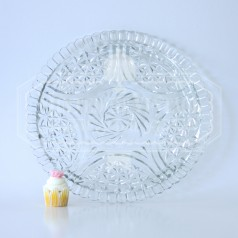 Clear Pressed Glass Cake Plate