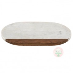 "14"" Marble & Wood Oval Serving Board"