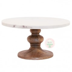 "12"" Marble & Wood Cake Stand"