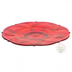 """12"""" Candy Apple Red Thistle Cake Plate"""
