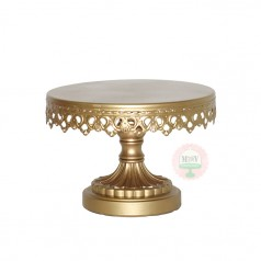 "8"" Ornate Gold Metal Cake Stand"