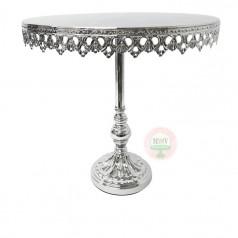 "12"" Ornate Shiny Silver Metal Cake Stand"