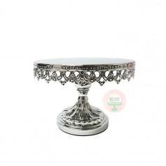 "8"" Ornate Shiny Silver Metal Cake Stand"