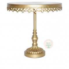 "12"" Ornate Gold Metal Cake Stand"