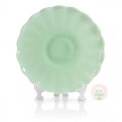"11"" Mint Milk Raised Scallop Cake Plate"
