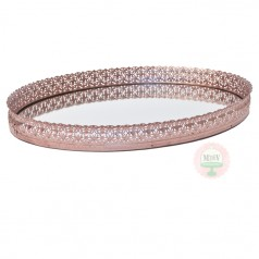 Oversized Rose Gold Mirrored Tray