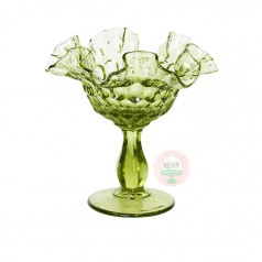 Avocado Green Flared & Fluted Compote