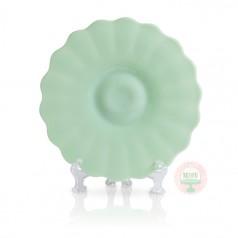 "11"" Mint Milk Scallop Cake Plate"