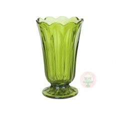 Scalloped Flower Vase- Avocado Green