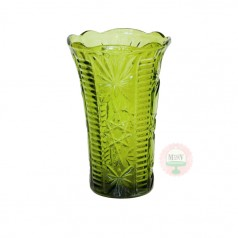 Stars & Bars Flower Vase- Avocado Green