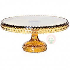 Amber Hobnail Cake Stand