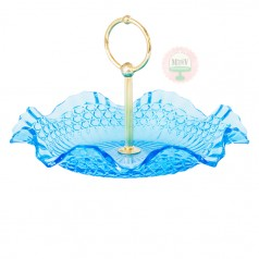 Flared & Fluted Aqua Tidbit Tray
