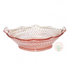 Depression Pink Swirl Handled Bowl