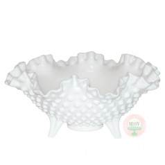 Flared & Fluted Hobnail Footed Bowl