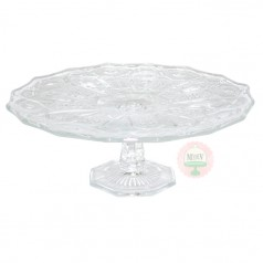 "11"" Clear Pressed Glass Cake Stand"