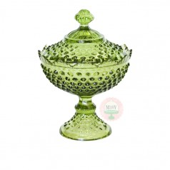 avocado Green Hobnail Candy Compote with Lid