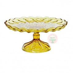 Vintage Yellow Thumbprint Cake Stand