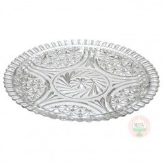 "12.5"" Clear Pressed Glass Cake Plate"
