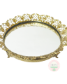 Round Scrolled Mirrored Footed Tray