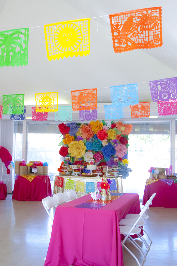 my sisters colorful mexican inspired baby shower dessert stand