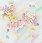 Vintage Ice Cream Party Hat & Bow