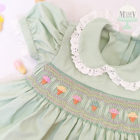 Vintage Ice Cream Smocked Dress